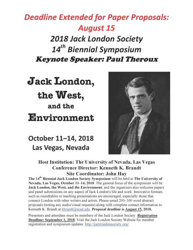 flier docx The Jack London Society 14th Biennial Symposium