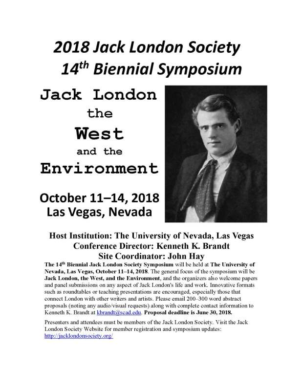 flyer The Jack London Society 14th Biennial Symposium Sept 19